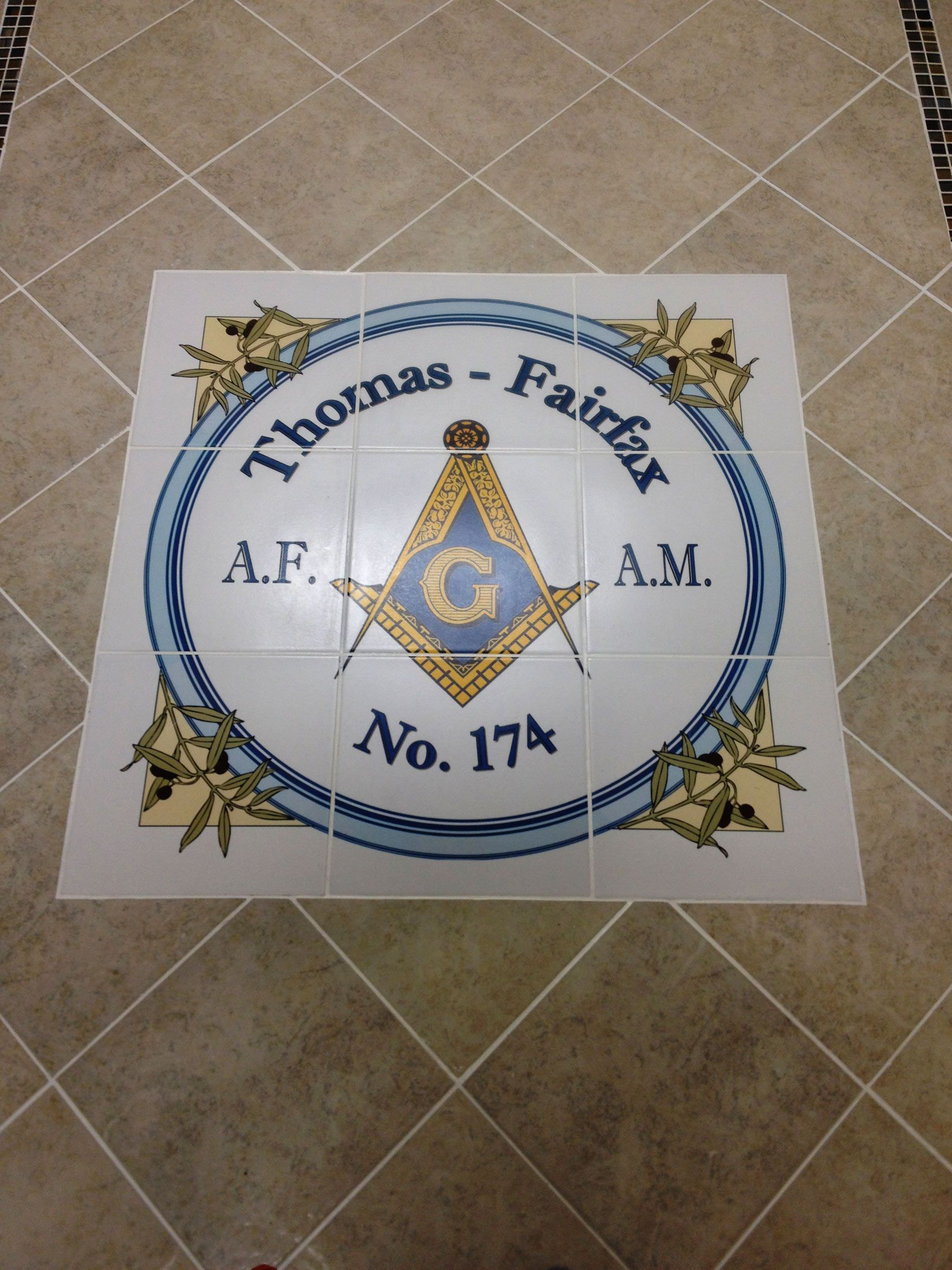 Custom floor tile medallion printed with logo for masonic lodge in custom floor tile medallion printed with logo for masonic lodge in west virginia these 12x12 dailygadgetfo Images