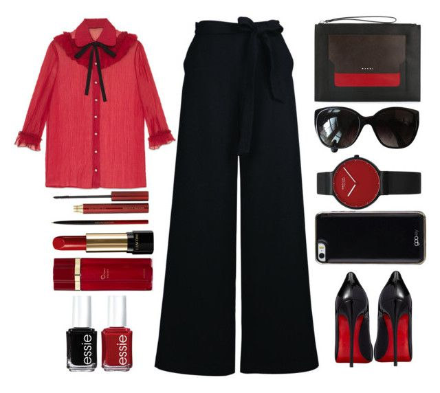 """""""business casual"""" by juliehalloran ❤ liked on Polyvore featuring Gucci, Christian Louboutin, Chanel, Marni, Gooey, Lancôme, Kevyn Aucoin, Oscar de la Renta and Essie"""