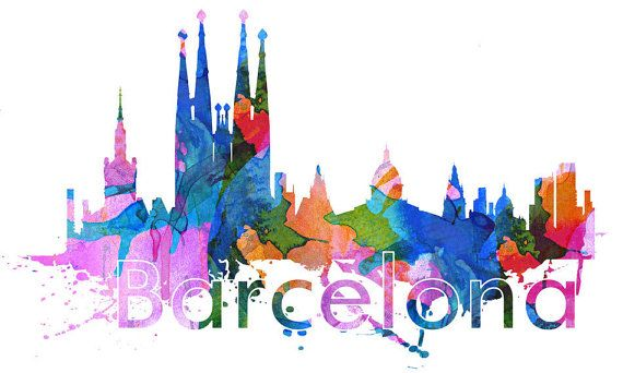 Barcelona spain skyline watercolor effect sticker home design art print wall decals also available as poster