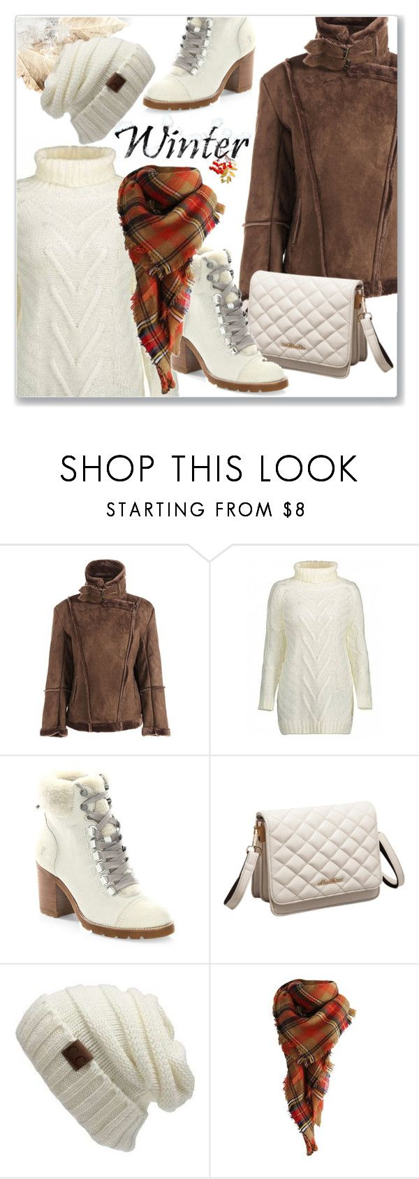 """Fleece Lining Faux Suede Jacket (Winter Vacation)"" by jecakns ❤ liked on Polyvore featuring Frye and CC"