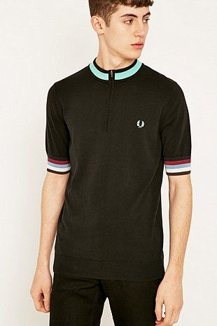 a16459e8 Fred Perry X Bradley Wiggins Black Knitted Zip Shirt - Urban Outfitters