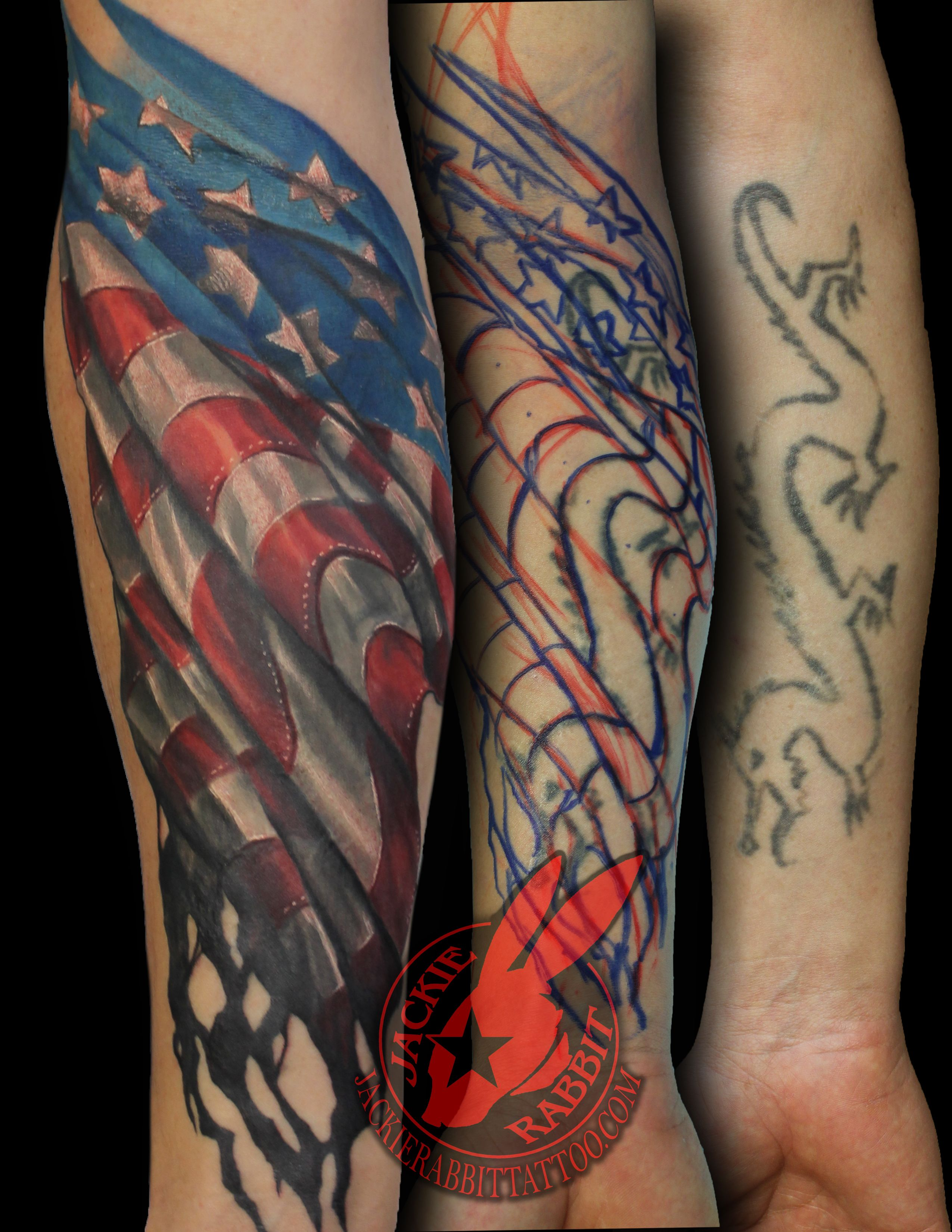 American flag waving tattered burned aged battle usmc