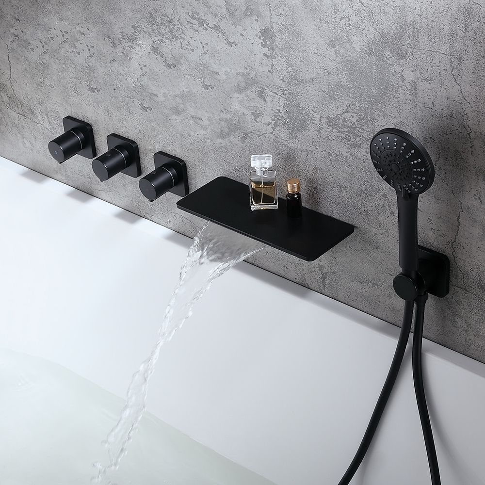 Modern Stylish Wall Mount Waterfall Bathtub Faucet With Hand Shower In Matte Black Solid Brass Bathtub Faucet Waterfall Bathtub Faucet Modern Tub Faucet
