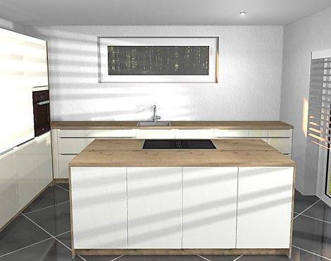 L - Küche mit Kochinsel in Hochglanz Weiß mit Eiche, Hochbackofen - Küchen Weiß Hochglanz