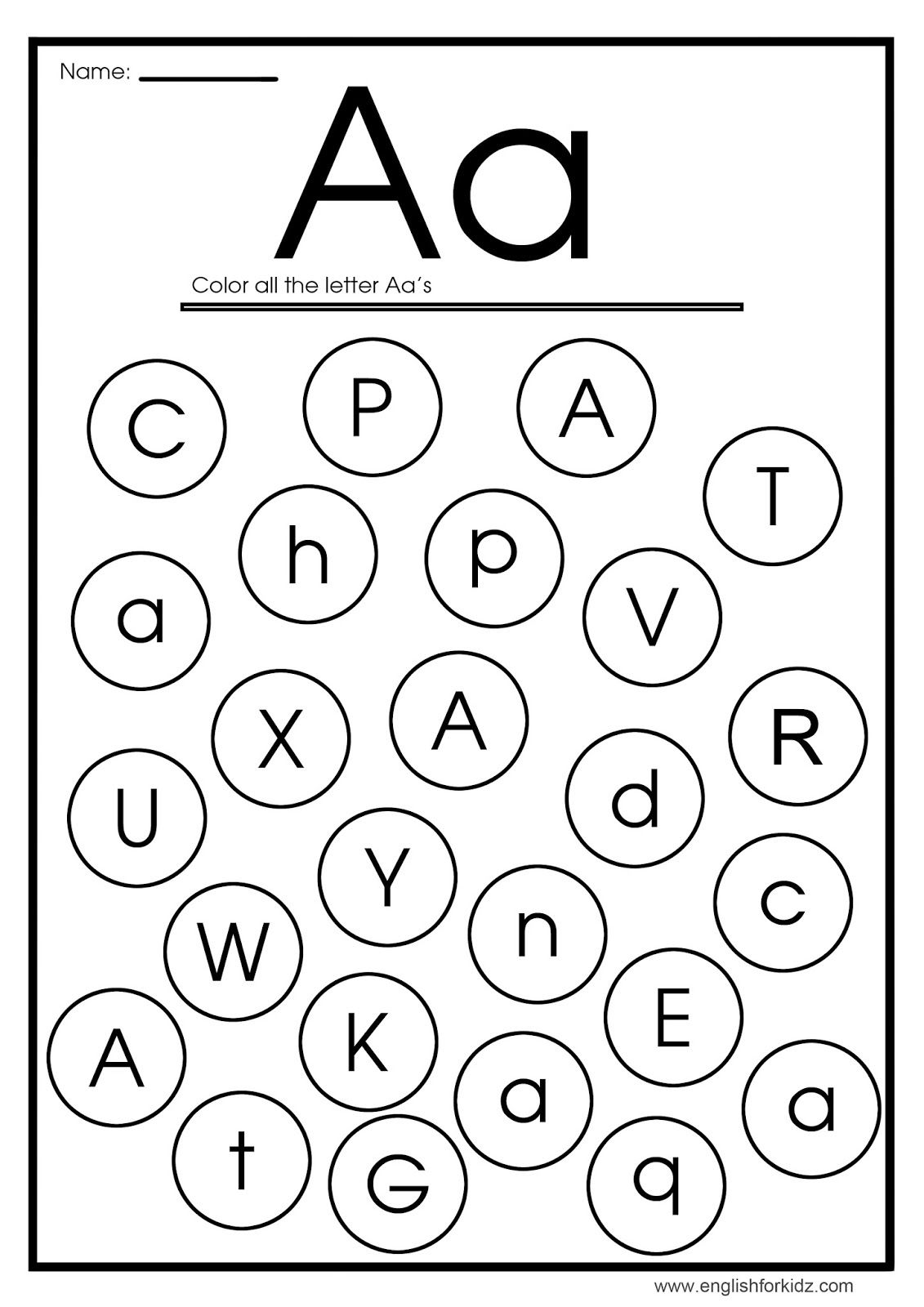 Find Letter A Worksheet In