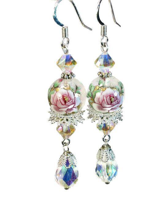 Sparkly Feminine Pink Rose Dangle Earrings Floral by BluKatDesign