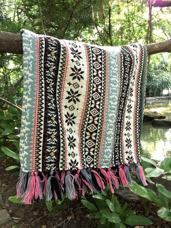"""Bohemian Throw Blankets Bohemian Throw Blanket 38 X 59"""" Inchestribal Aztec Blanket Boho"""