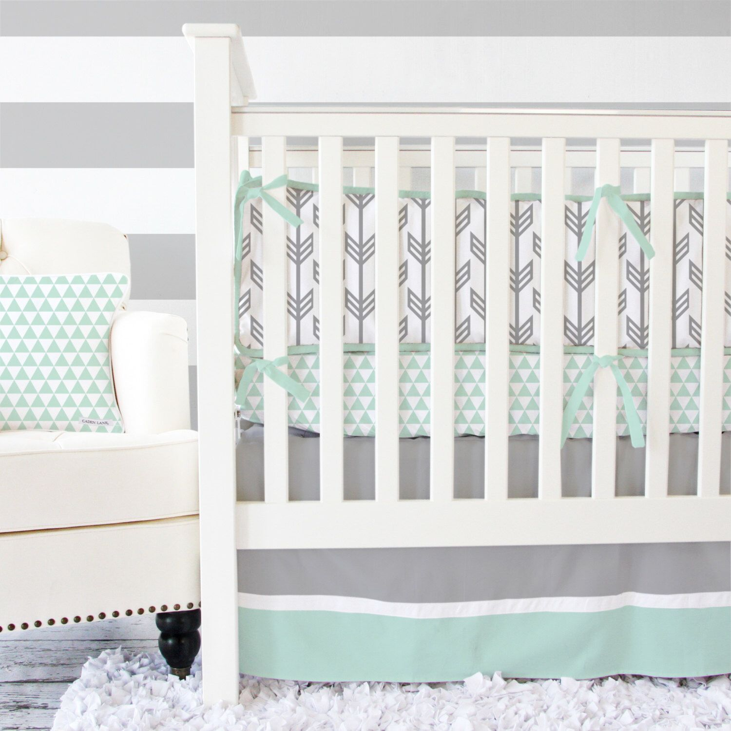 Your Mint Gray Arrow Crib Bedding Set By Caden Lane Here Make Nursery Unforgettable With The Stylishly Over Top Sets From