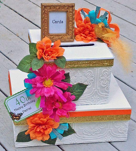 Quinceanera Card Box Wedding Tropical Fiesta Personalized Multi