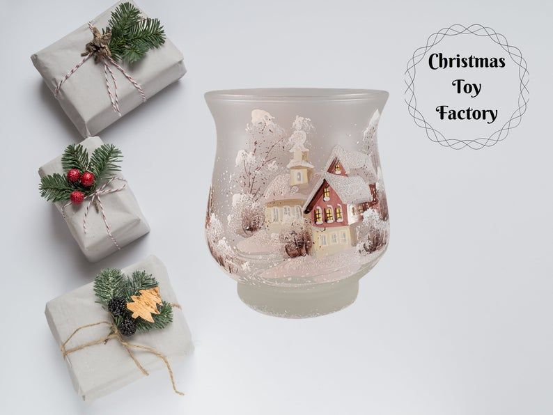 3 5 Christmas Glass Ball Ornament Handmade In Russia Winter Village Tree Ornaments Home Garden