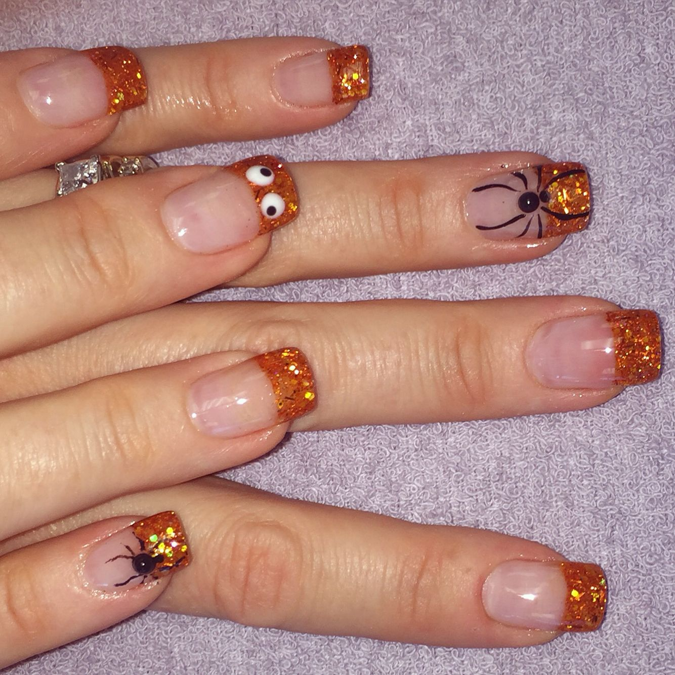 My acrylic nails, nail art, Halloween, fall, 3-D art ...