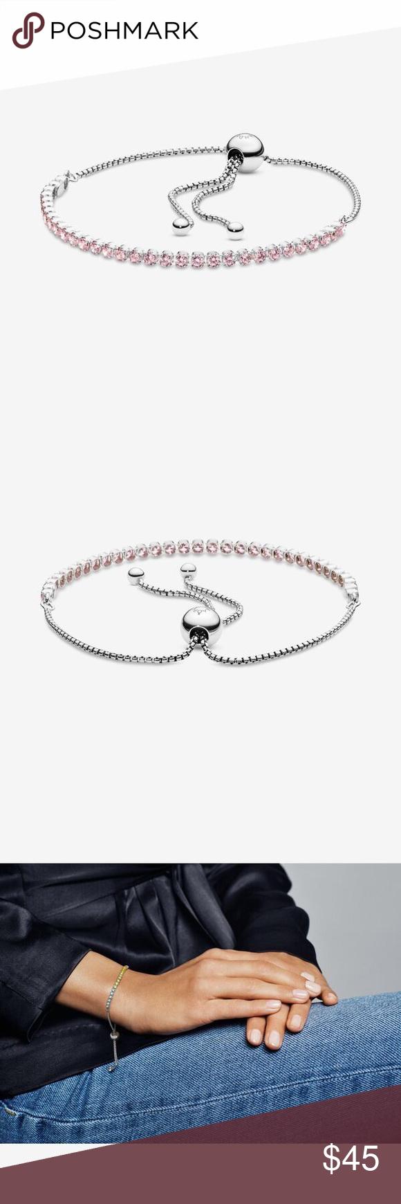 Pink Sparkling Slider Tennis Bracelet Brand New In 2020 Pandora Pink Tennis Bracelet Pandora Jewelry Bracelets