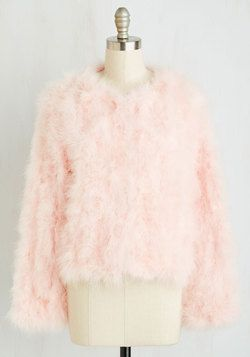 Fab Focus Jacket. Your sassy style is always the center of attention, so sporting this blush pink feather coat to be the star of the evening only makes sense! #pink #modcloth