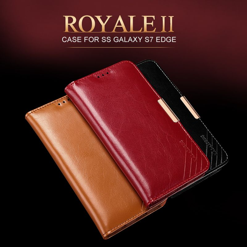 For Samsung Galaxy S7 Edge Flip Case Luxury Oil Wax Genuine Leather Case For samsung s7 edge Wallet Capinha