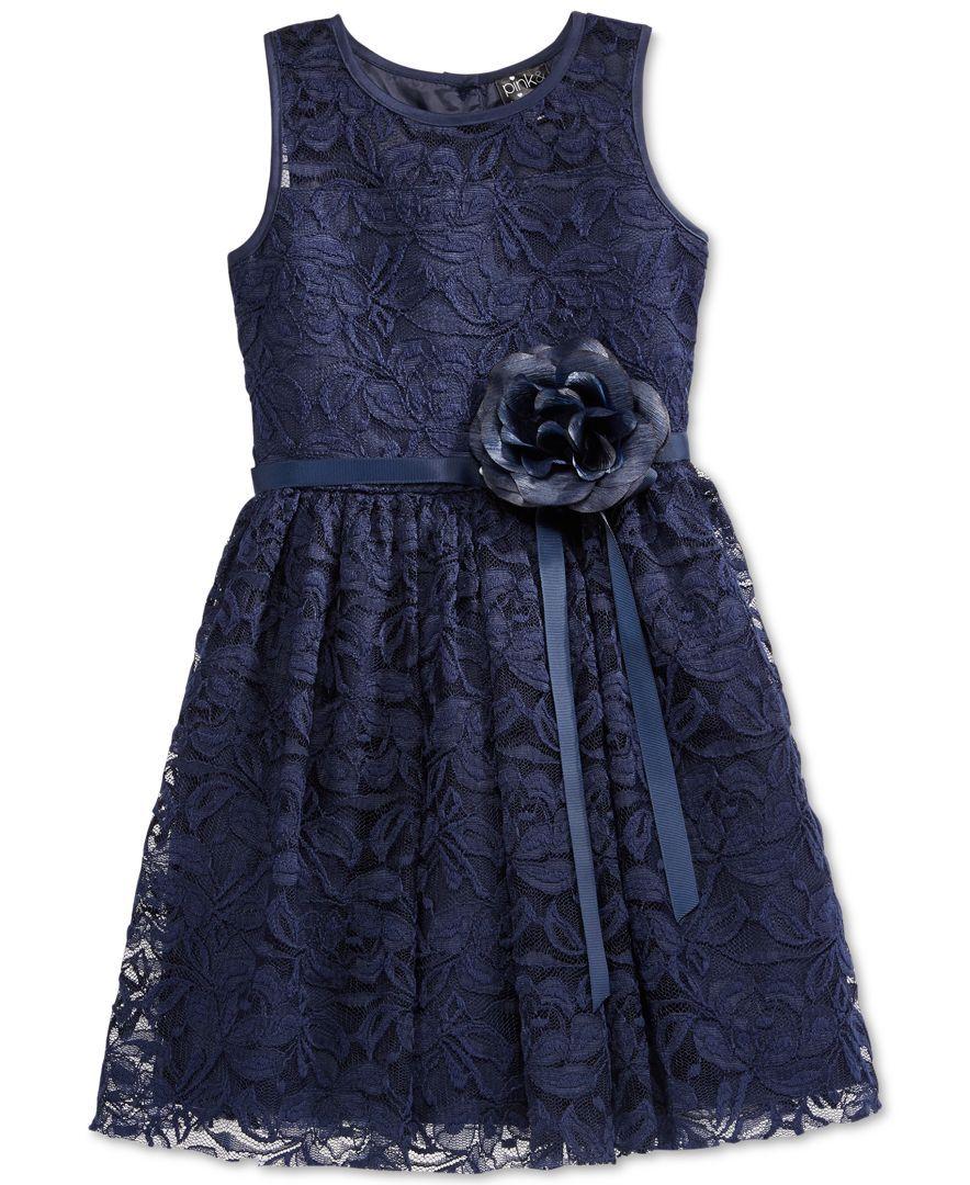 Pink u violet little girlsu navy lace dress products pinterest