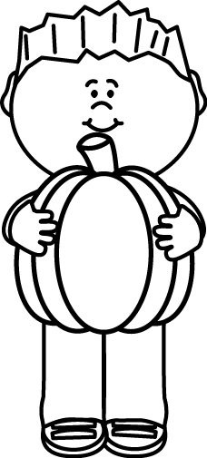 Black And White Kid Holding A Pumpkin Pumpkin Images Coloring Pages Black And White