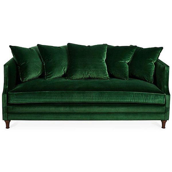 Dumont 85 Velvet Sofa Emerald Sofas Loveseats Green Velvet Sofa Green Sofa Emerald Green Sofa