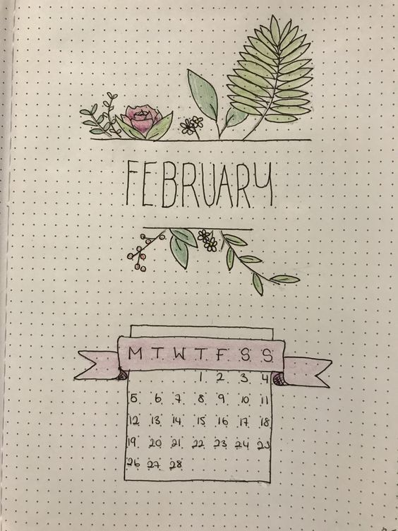 February Bullet Journal Cover Page Ideas Its not all hearts and flowers Floral February Cover Page