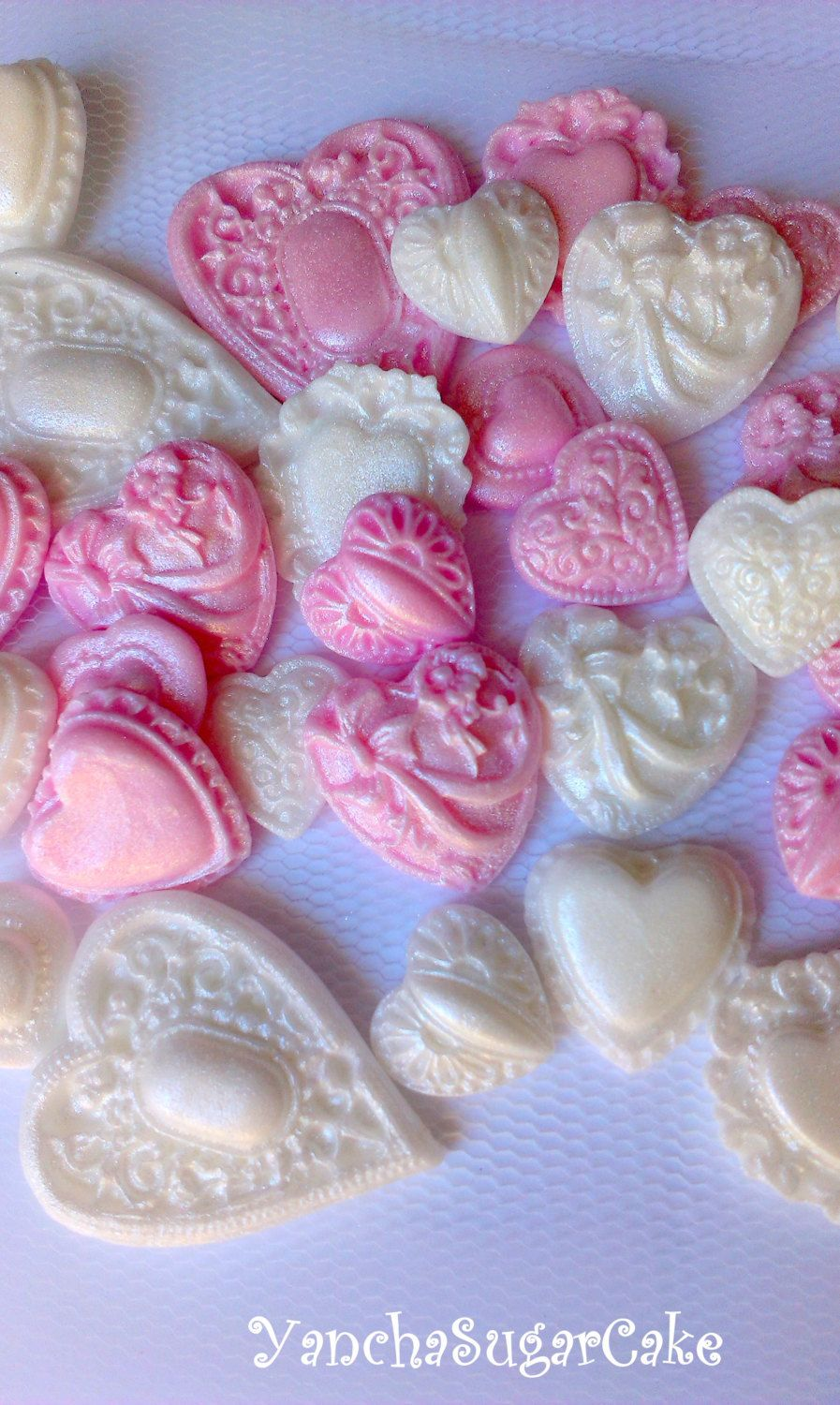 Fondant edible hearts brooch Cupcake topper Baby girl shower ...