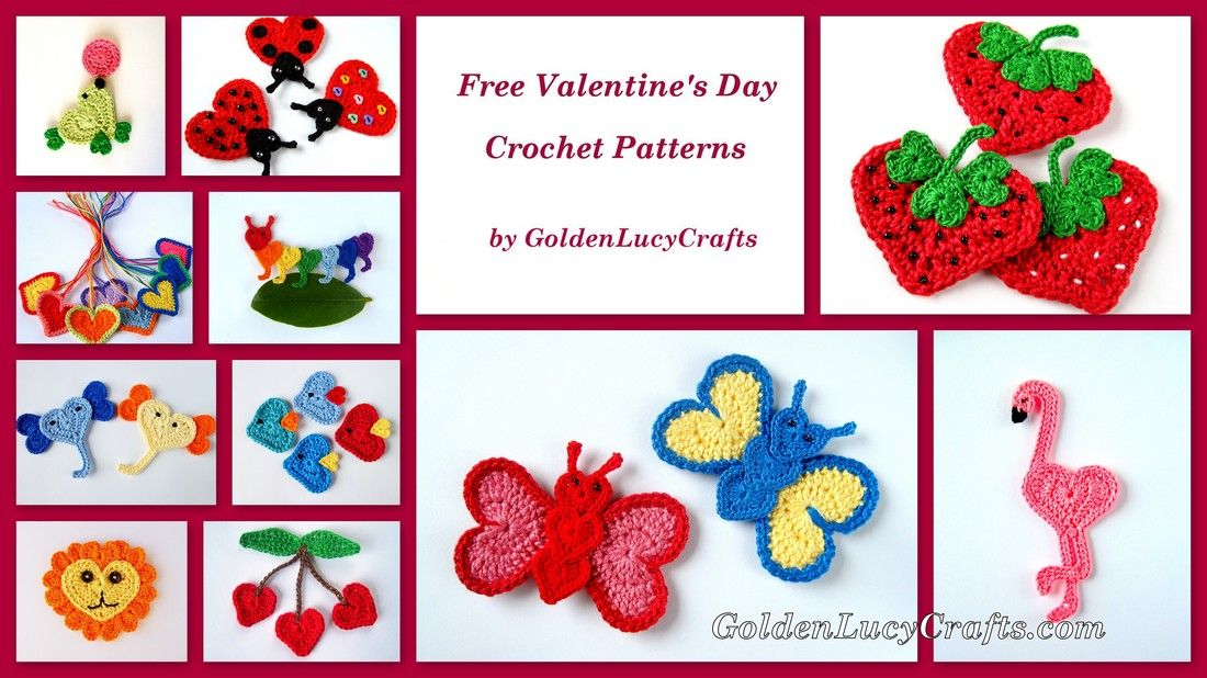 Free Valentine\'s Day Crochet Appliqué Patterns | Sternenkinder und ...