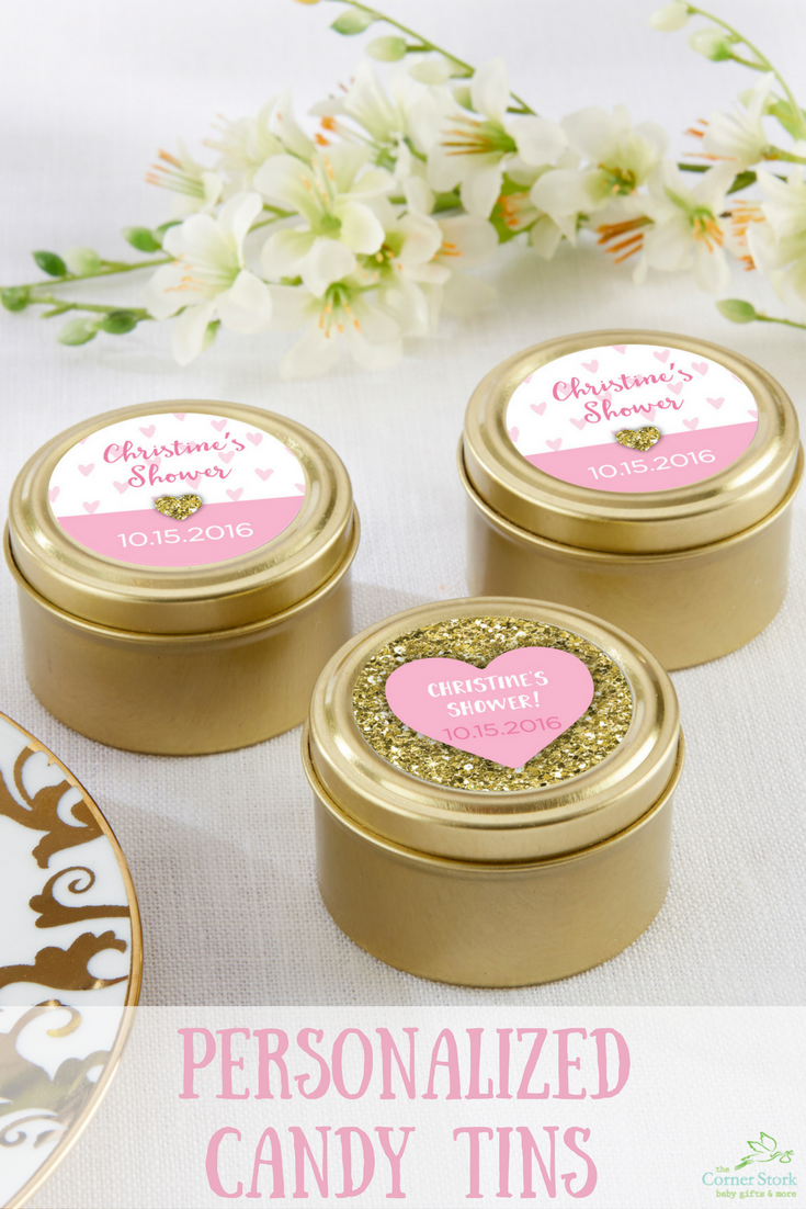 Make a big impression with your baby shower favors using Personalized Round Gold Candy Tin from the Sweet Heart collection!