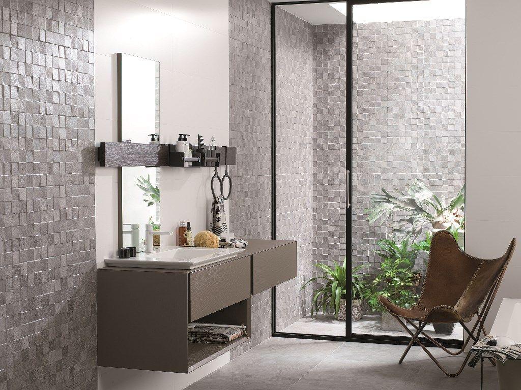Porcelanosa mosaico rodano acero raw concrete mosaic for Porcelanosa carrelage mural