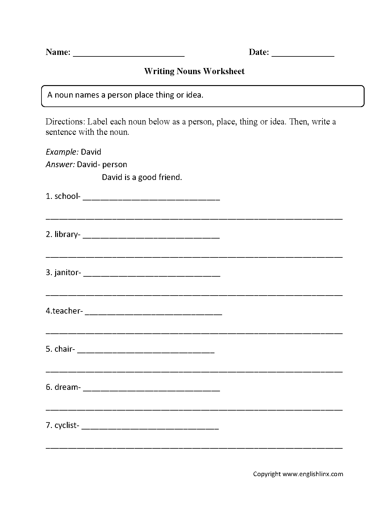 Writing Nouns Worksheet
