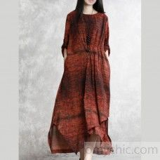 1c7befed7d7 Style o neck linen clothes Sleeve red floral Dresses summer - Summer Dresses
