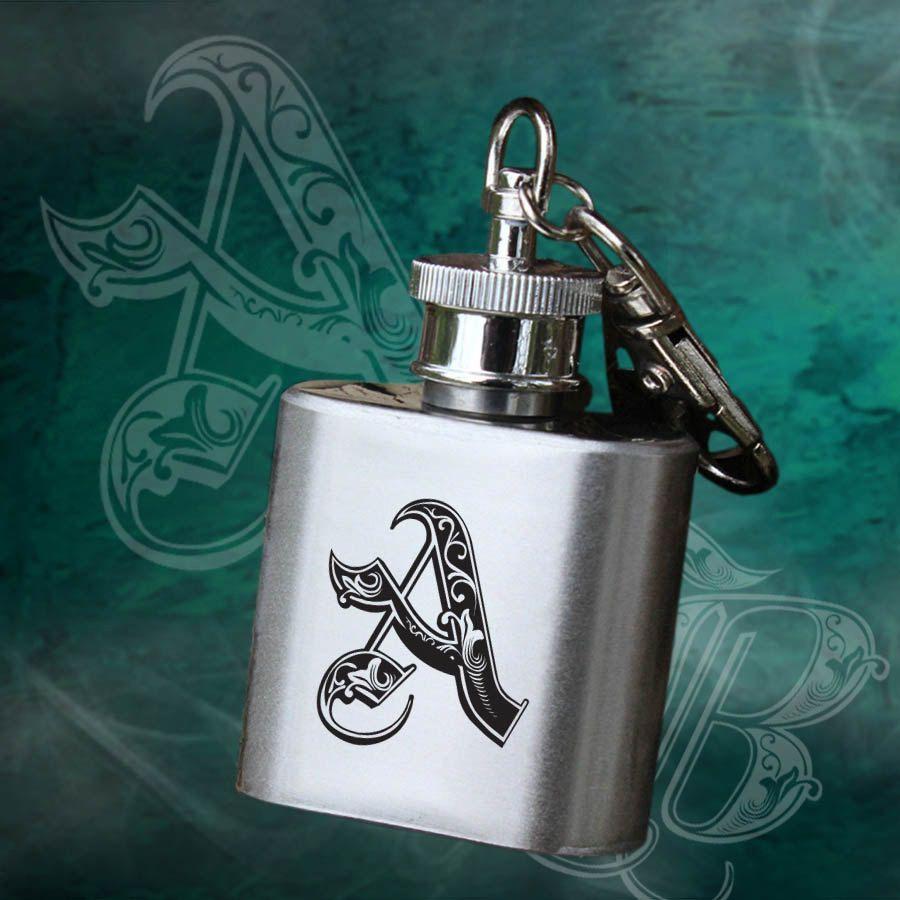 Monogram Engraved Personalised Mini Alcohol Flagon with Keychain ...