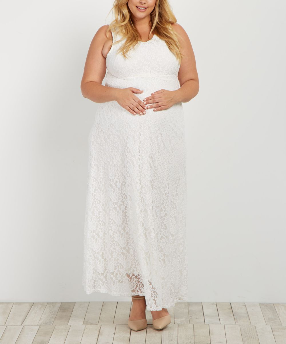 Lace v neck maxi dress  PinkBlush Ivory Lace VNeck Plus Maternity Maxi Dress Plus