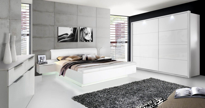 Bett In Weiß Hochglanz Story 180×200 Mit Optionales LED
