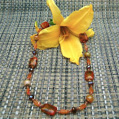 18in necklace, 7.5 in bracelet, earrings 2.5 in...Carnelian, Azurite Chrysocolla, Crackle Agate & Crystals...  $22.00