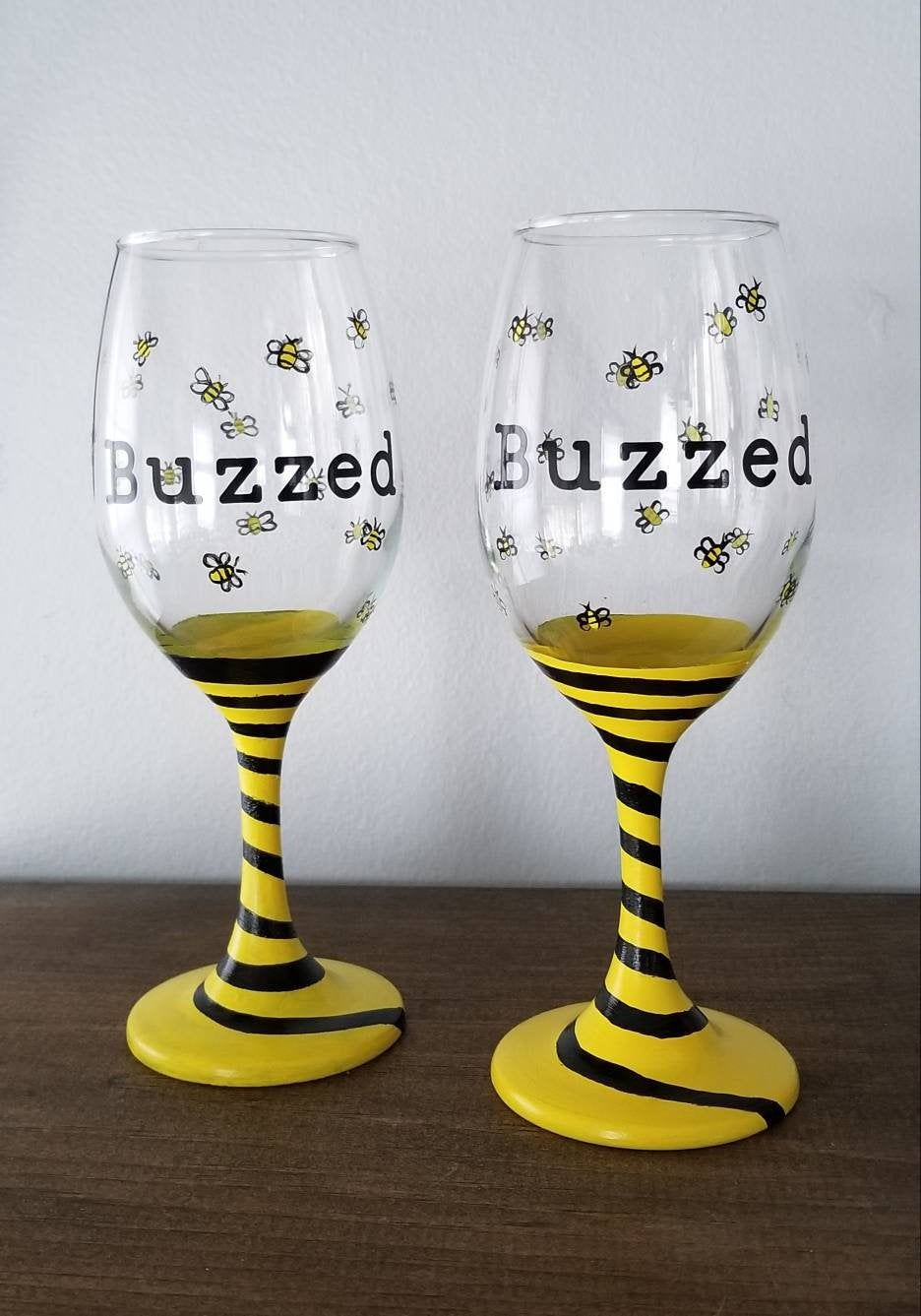 Hand Painted Wine Glass Buzzed Bees Bumblebee Etsy in