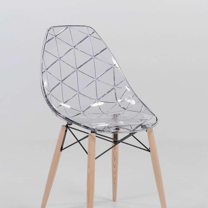 Chaise Scandinave Transparente Avec Pieds En Bois Prisma Chaise Scandinave Chaise Chaise Transparente