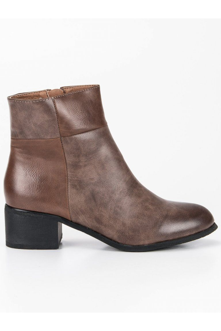 95f58aab3f8ba Klasické hnedé topánky na podpätku Small Swan | Členkové čižmy - NAJ ...