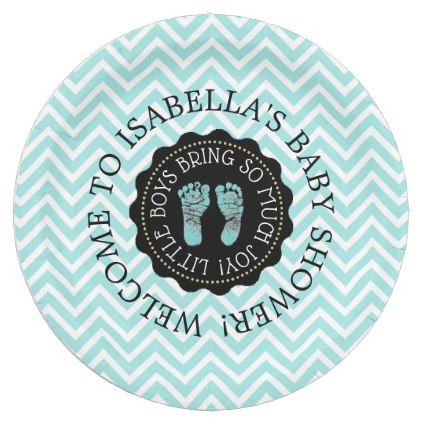 Personalized baby shower teal chevron paper plates baby gifts personalized baby shower teal chevron paper plates baby gifts child new born gift idea diy negle Gallery