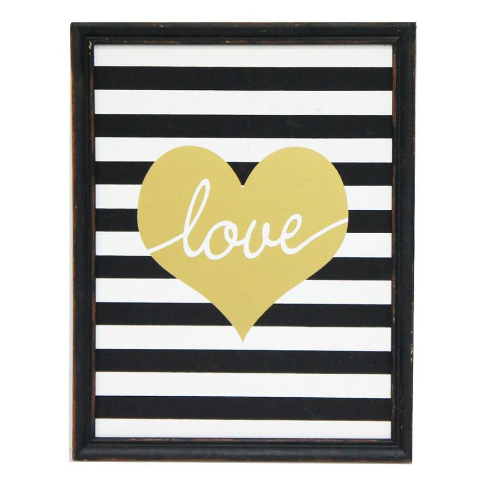 Love Wall Art | Black, Gold, White | 28x35.6cm by Stoneleigh and ...