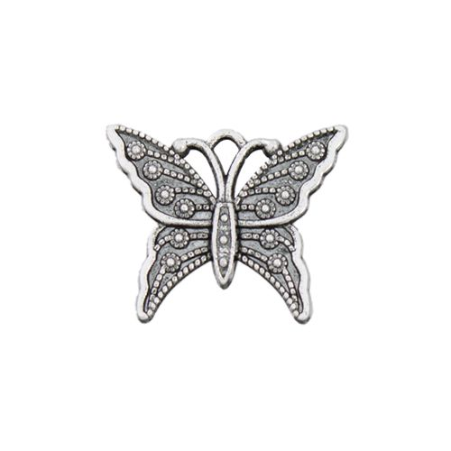 Silver Pewter Butterfly Charm, 23mm