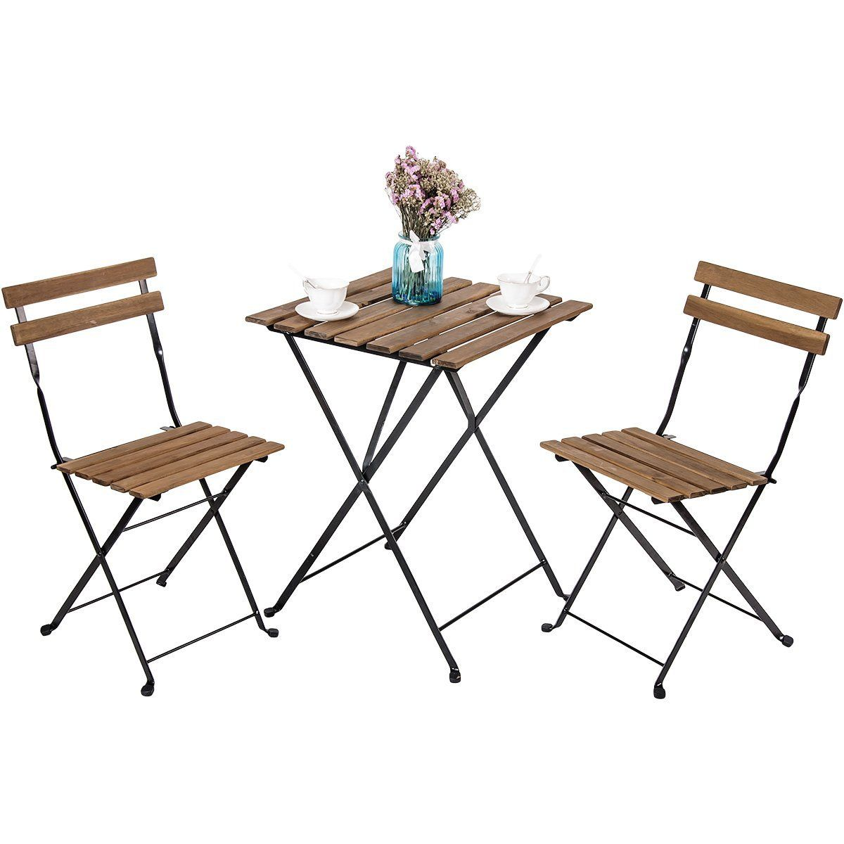 Leisure Zone Outdoor Folding Bistro Set 3 Piece Patio Table And Chairs Set Metal And So Wicker Dining Chairs Outdoor Furniture Sets Outdoor Chairs