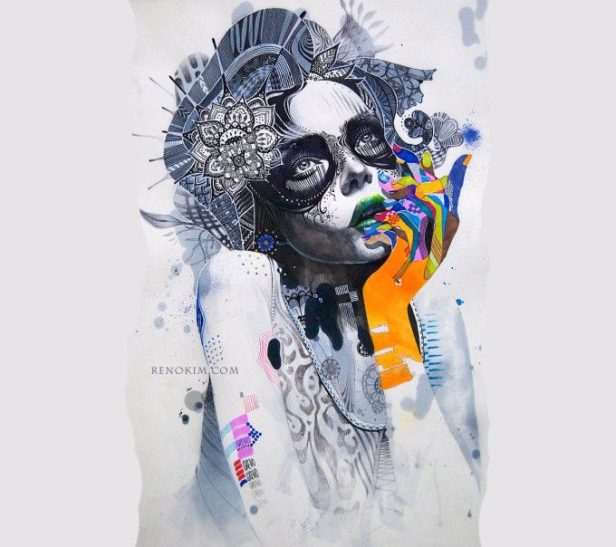 Minjae Lee is a young South Korean artist whose work expresses a semi-disturbing inner tension that is tough to ignore, even if you feel that you'd like to. It draws you in with its powerful colours, halting imagery and clever juxtaposition of beauty, innocence and fragility with brash, loud and aggressive.