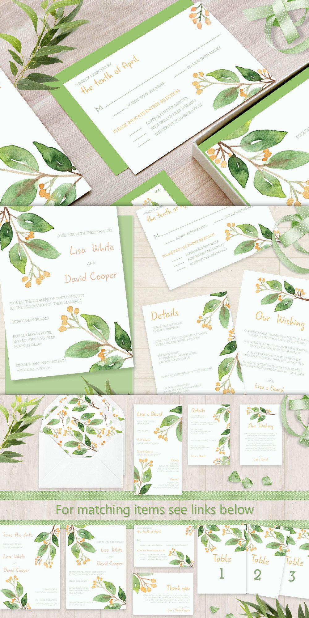 Printable Wedding Invitation Watercolor Wedding Invitation   Digital ...