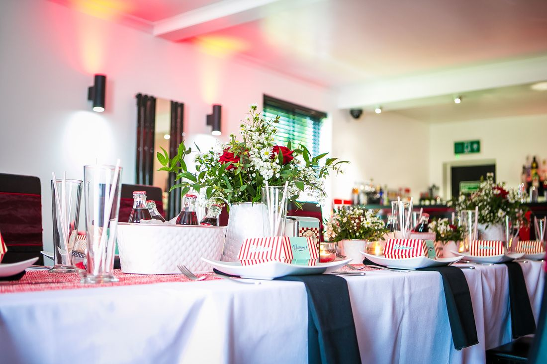1950's Vintage Rock a Billy Wedding, Wedding Planner Bristol, http://www.mulberryweddingsandevents.co.uk http://www.danielsprackmanphotography.co.uk - The Park Hotel Falfield. Red and white wedding theme. Red and Black wedding theme, Retro diner wedding party. Cocktail bar wedding. Wedding table decoration  ideas. American Diner,  Wedding decorations, Wedding flowers, Coke, Coca-Cola,