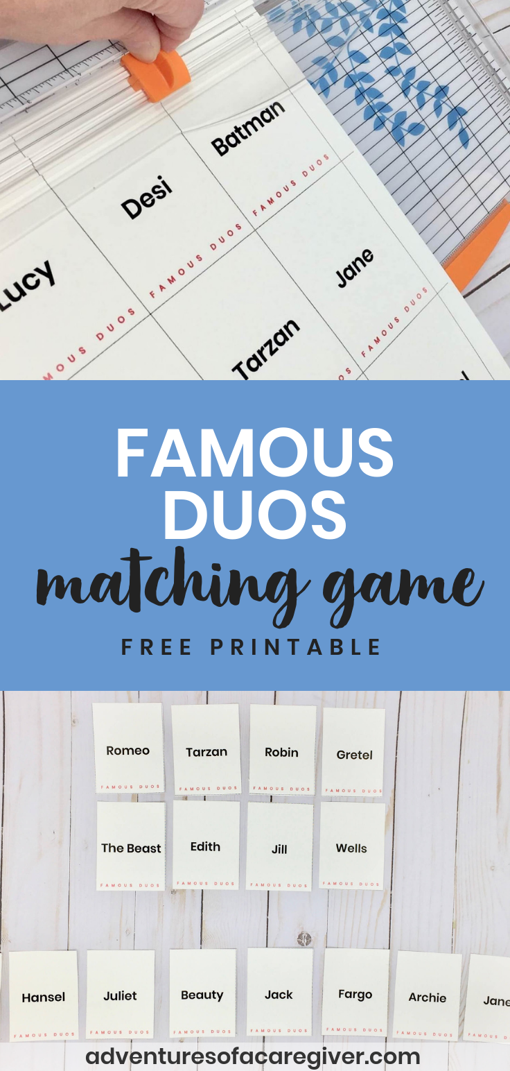 Famous Duos Free Printable Alzheimer's and Dementia