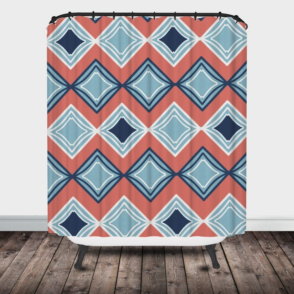 Coral and aqua shower curtain - Coral And Navy Blue Shower Curtain