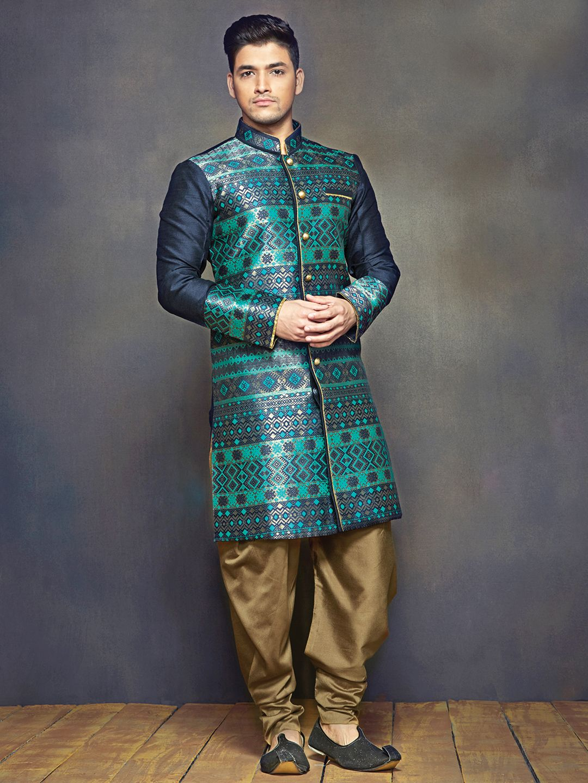 Green Printed Raw Silk Wedding Wear Men Kurta Suit | Traditional ...