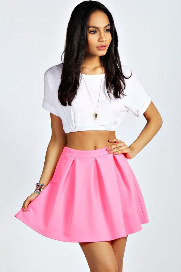 5cc56d8c00 $8, Hot Pink Skater Skirt: Boohoo Tianna Neon Box Pleat Skater Skirt. Sold