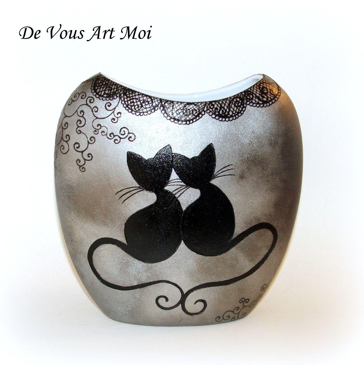 vase moderne collection chat en porcelaine peinte la. Black Bedroom Furniture Sets. Home Design Ideas