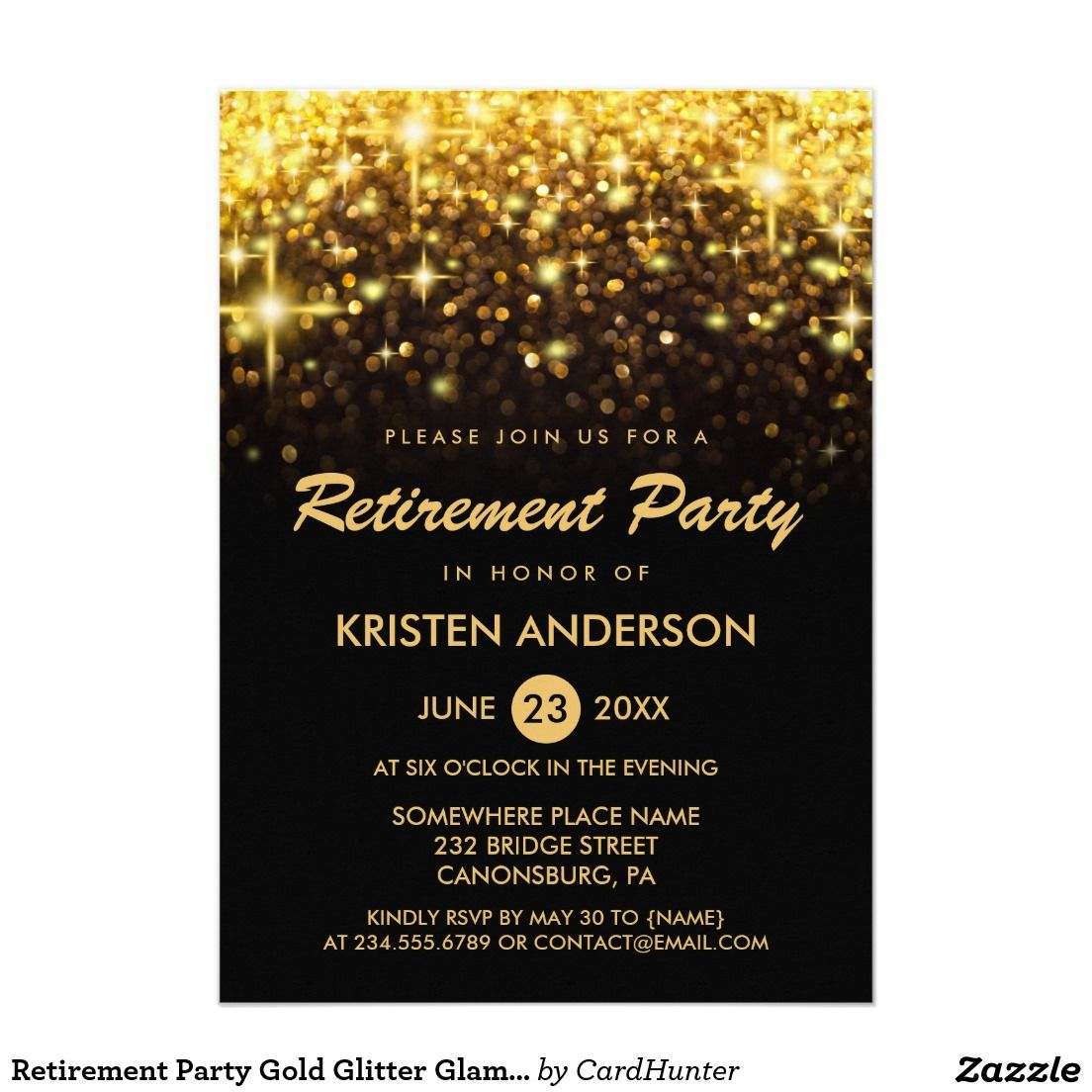 Retirement Party Gold Glitter Glamour Sparkles | Corporate Party ...