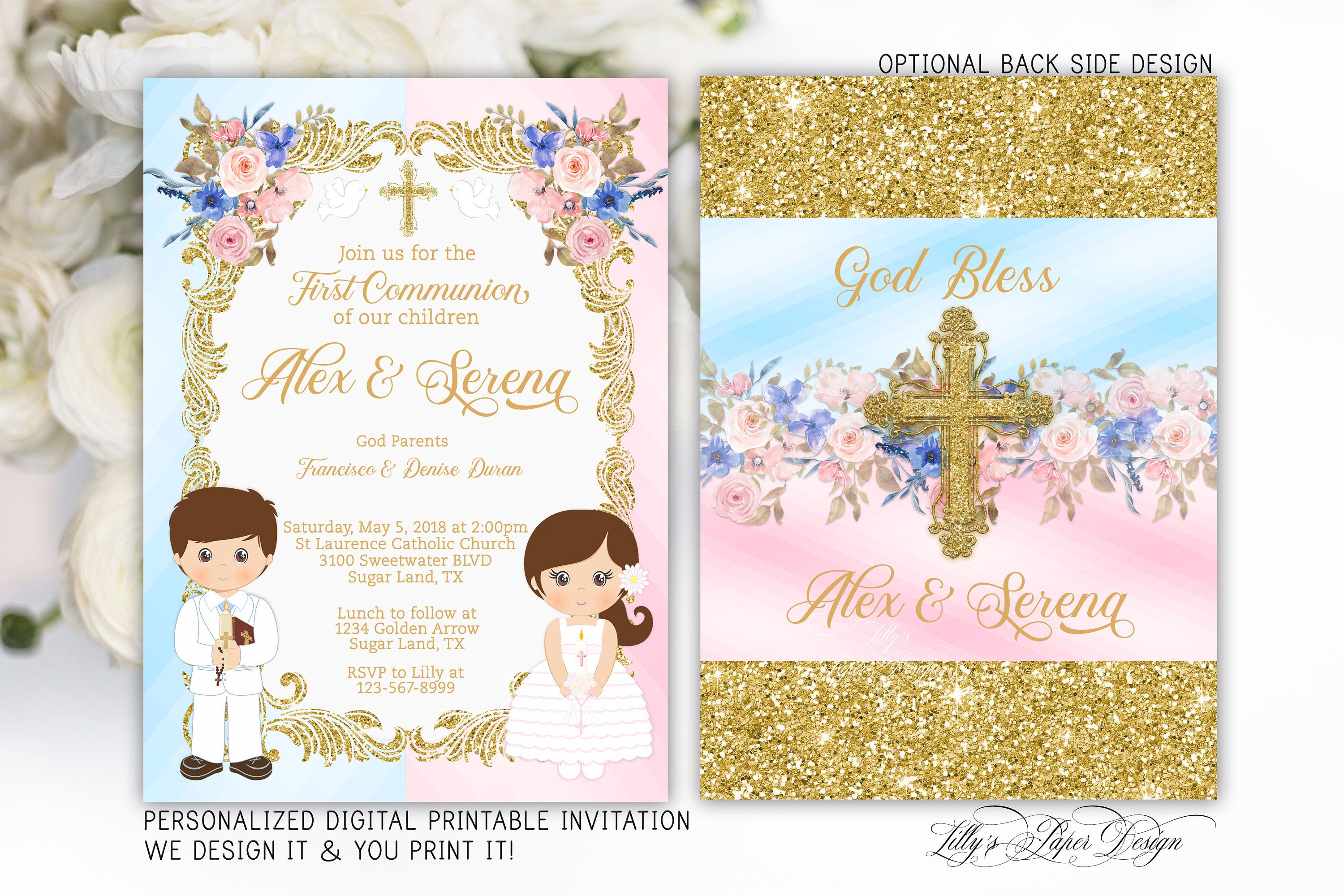 First communion siblings invitation first communion