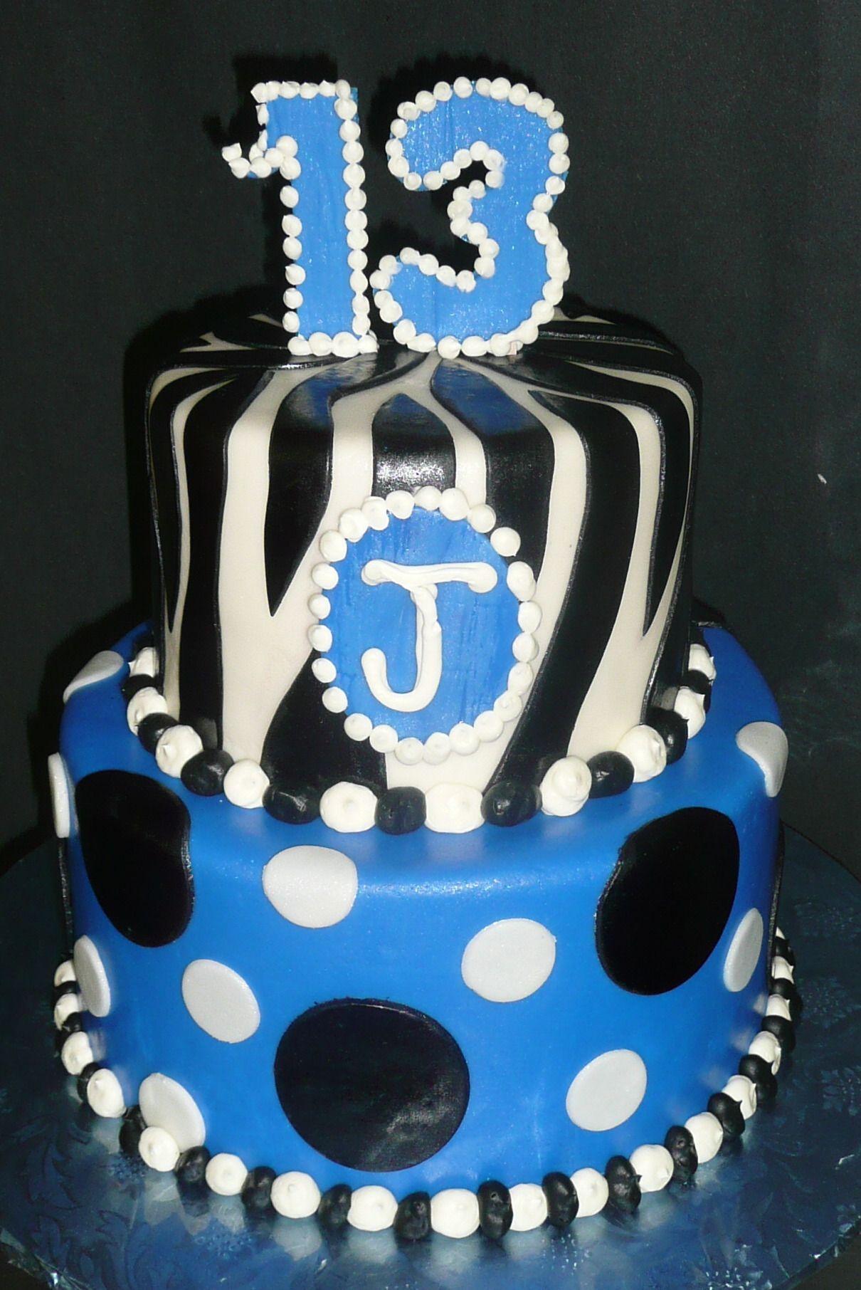 Cake Ideas For 13th Birthday Boy : Fun Polka Dot and Zebra 13th Birthday Cake Happy ...